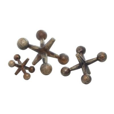 Iron Metal Gold Jacks Sculptures (Set of 3)