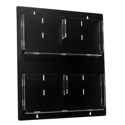 20 in. x 23 in. Black Adjustable Pockets Clear Acrylic Hanging Magazine Rack