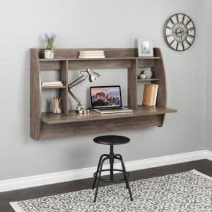 58.25 in. Double Wide Drifted Gray Floating Desk