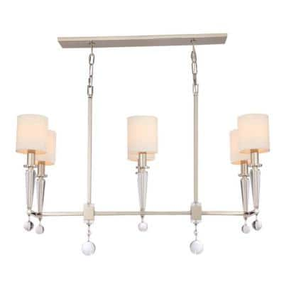 Paxton 6-Light Polished Nickel Shaded Chandelier with Silk Shade