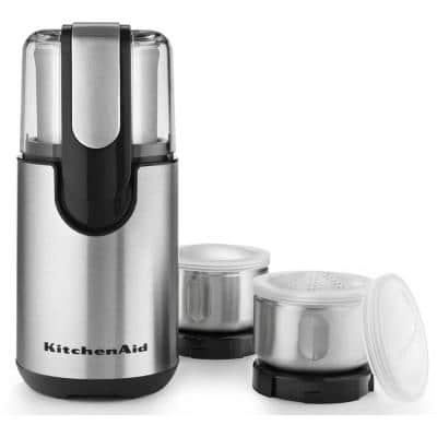 One-Touch 4 oz. Onyx Black Blade Coffee Grinder with Shaker Lid and Storage Lid