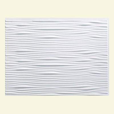 18.25 in. x 24.25 in. Waves Vinyl Backsplash Panel in Gloss White (5-Pack)