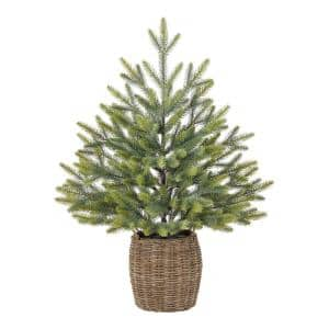 30 in Green Fir Tabletop Artificial Christmas Tree with Wicker Basket
