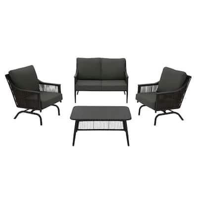 Bayhurst 4-Piece Black Wicker Outdoor Patio Conversation Seating Set with CushionGuard Graphite Dark Gray Cushions