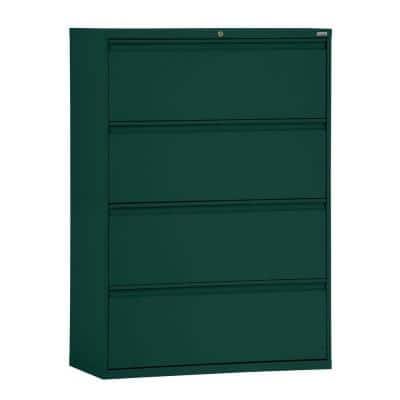 800 Series 42 in. W 4-Drawer Full Pull Lateral File Cabinet in Forest Green