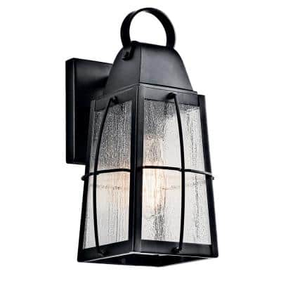 Tolerand 12 in. 1-Light Textured Black Outdoor Wall Mount Sconce with Clear Seeded Glass