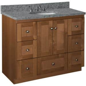 Shaker 42 in. W x 21 in. D x 34.5 in. H Simplicity Vanity Center Basin with Side Drawers in Medium Alder