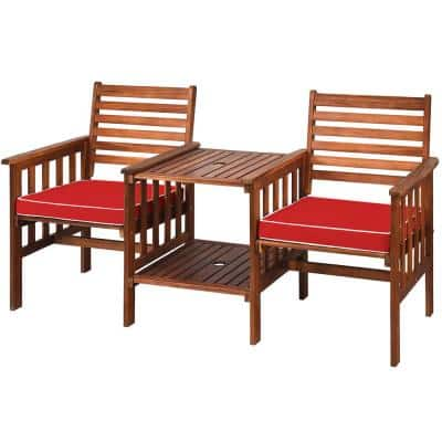3-Piece Acacia Wood Outdoor Loveseat Conversation Set with Cushion Red