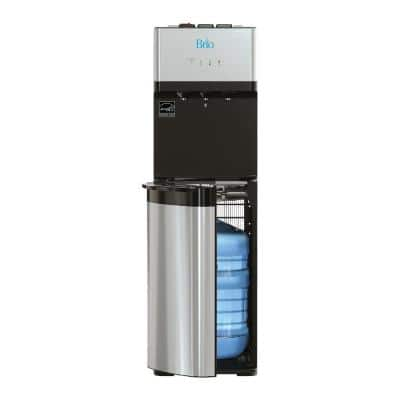 Essential Tri-Temp Bottom-Load Water Cooler in Black and Brush Stainless-Steel