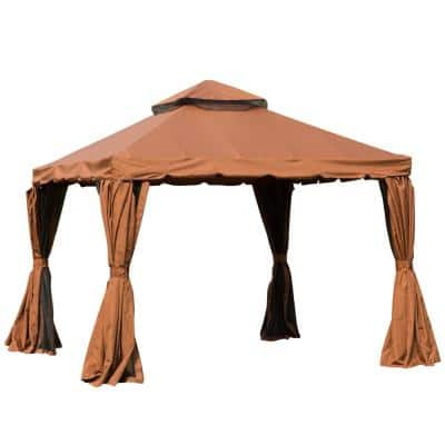 10 ft. x 10 ft. x 9 ft. Steel Frame Patio Gazebo with Beautiful Polyester Curtains and Air Venting Netted Screens, Brown