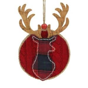 6 in. Red Fabric Plaid Deer Silhouette Round Christmas Ornament