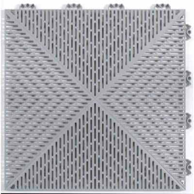 Unique 14.9 in. x 14.9 in. Gray Polypropylene Garage Floor Tile (21.6 sq. ft. / case)