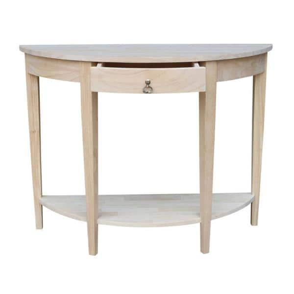 International Concepts 42 In Unfinished Standard Half Moon Wood Console Table With Storage Ot 1643hd The Home Depot