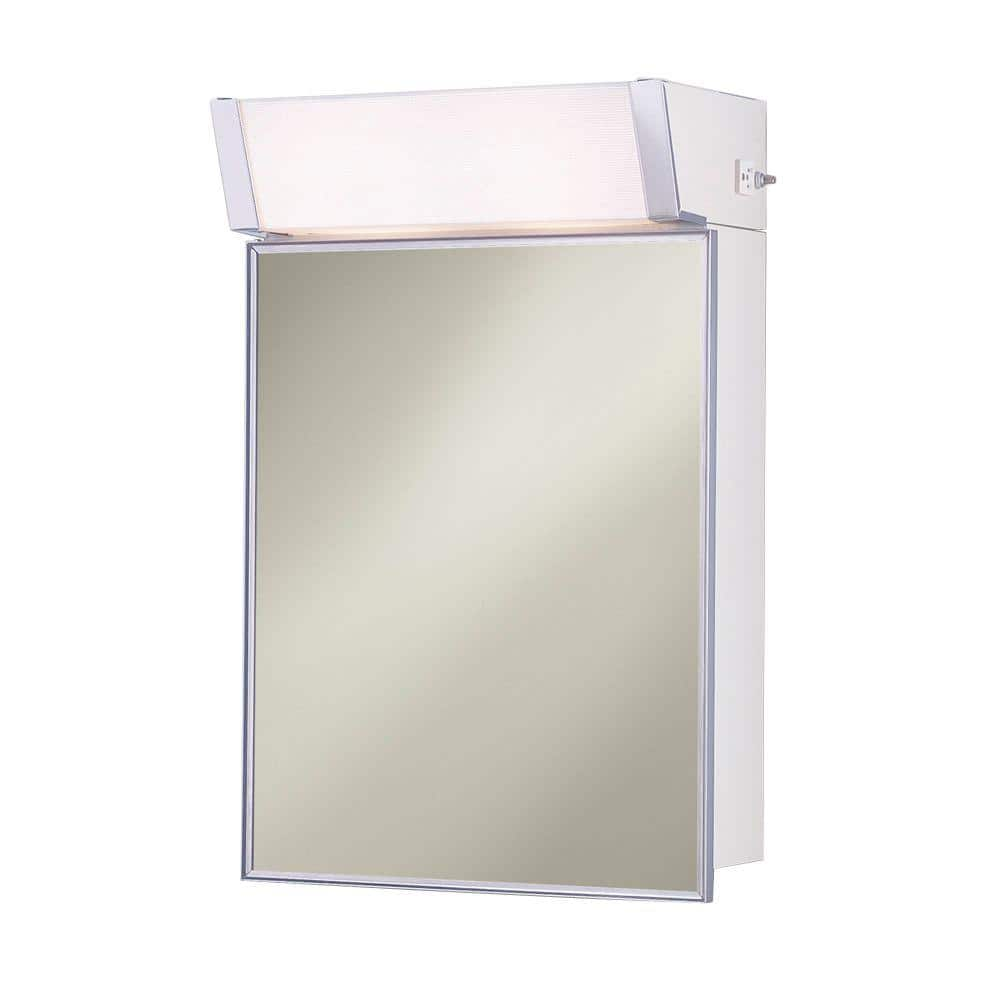 Jensen Lighted 16 In W X 24 In H X 8 In D Framed Stainless Steel Surface Mount Bathroom Medicine Cabinet 555ilx The Home Depot