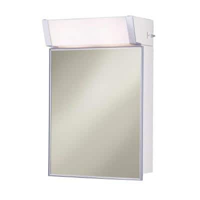 Lighted 16 in. W x 24 in. H x 8 in. D Framed Stainless Steel Surface-Mount Bathroom Medicine Cabinet