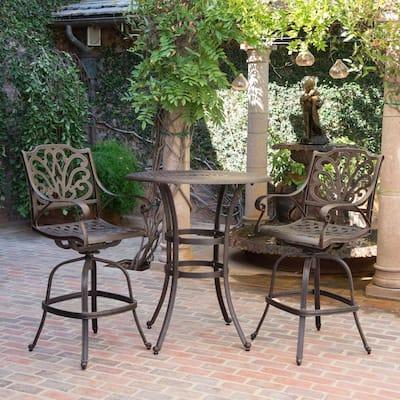 Alfresco Bronze 3-Piece Aluminum Patio Conversation Seating Set