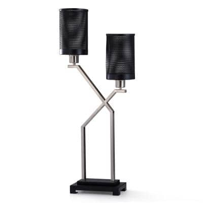 33 in. Black and Brushed Steel Metal Traditional Lamp