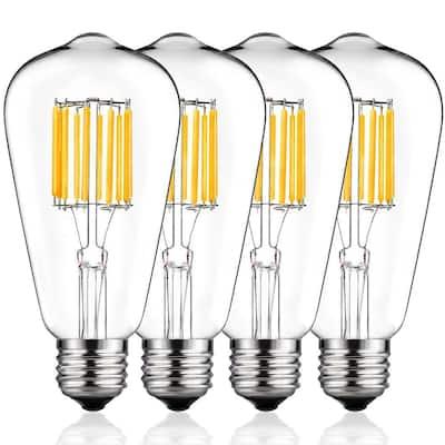 100-Watt Equivalent ST64 Edison LED Light Bulb Warm White (4-Pack)