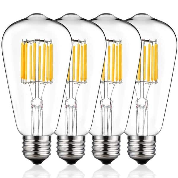 Yansun 100 Watt Equivalent St64 Edison Led Light Bulb Warm White 4 Pack H Fb02004w10e26 4 The Home Depot
