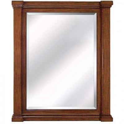 Large Rectangle Brown Beveled Glass Modern Mirror (47 in. H x 32 in. W)