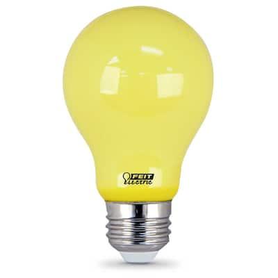 60-Watt Equivalent A19 5-Watt Medium E26 Base Non-Dimmable Yellow Colored Bug LED Light Bulb