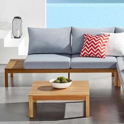 Freeport Karri Wood Outdoor Loveseat with Right-Facing Side Table in Natural with Light Blue Cushions