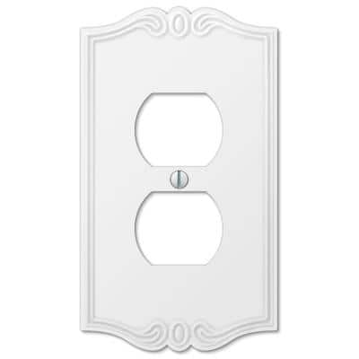 Charleston 1 Gang Duplex Composite Wall Plate - White