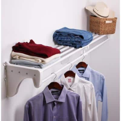 Expandable DIY Closet Shelf & Rod 30 in - 50 in W, White, Mounts to Back Wall with 2 End Brackets, Wire, Closet System