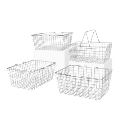 12.5 in. D x 15.75 in. W x 6.75 in. H Large Chrome Steel Wire Storage Bin Basket Organizer (4-Pack)