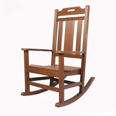 Modern All Weather Brown Rocking Plastic Adirondack Chair