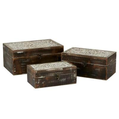 Rustic Jewelry Organizer, Wooden Box For Necklace, Bracelet, Ring, Earrings, Brown (Set Of 3)
