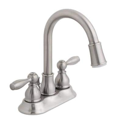 Mandouri 4 in. Centerset 2-Handle LED High-Arc Bathroom Faucet in Brushed Nickel
