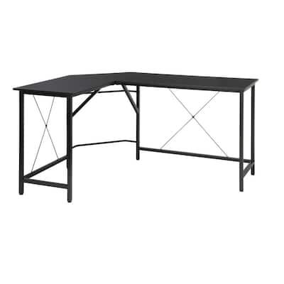 Essentials Collection 58 in. Black Modern L-Shaped Desk Corner Desk