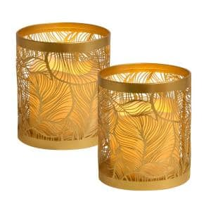 Metal Gold Leaf Candleholders with LED Candles (set of 2)
