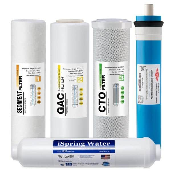 Ispring Universal 5 Stage Reverse Osmosis 1 Year Replacement Water Filter Pack Set With 100 Gpd Ro Membrane Cartridge F5 100us The Home Depot