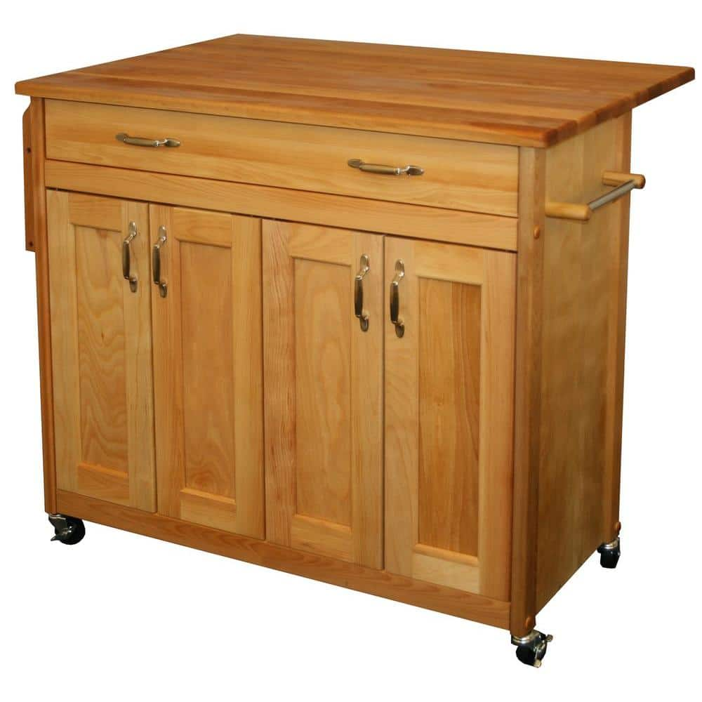 Catskill Craftsmen Natural Wood Kitchen Cart With Drop Leaf 51538 The Home Depot