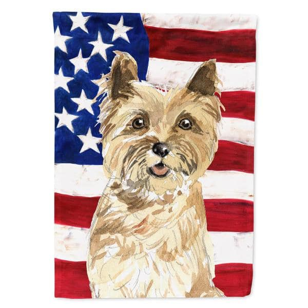 Caroline S Treasures 0 91 Ft X 1 29 Ft Polyester Patriotic Usa Cairn Terrier 2 Sided 2 Ply Garden Flag Ck1735gf The Home Depot