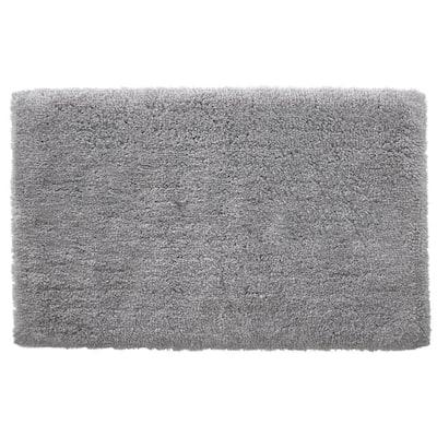 Stone Gray 19 in. x 34 in. Non-Skid Cotton Bath Rug