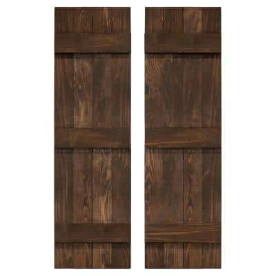 14 in. x 84 in. Wood Traditional Coffee Brown Board and Batten Shutters Pair