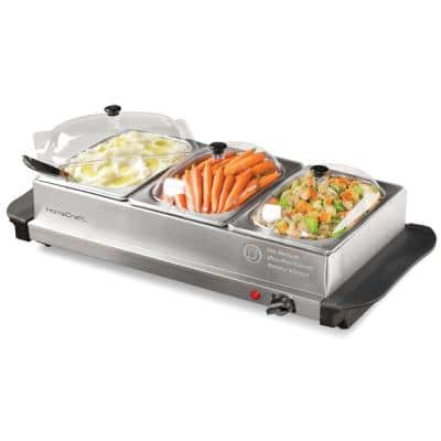 1.5 Qt. Stainless Steel Buffet Server with 3-Crocks