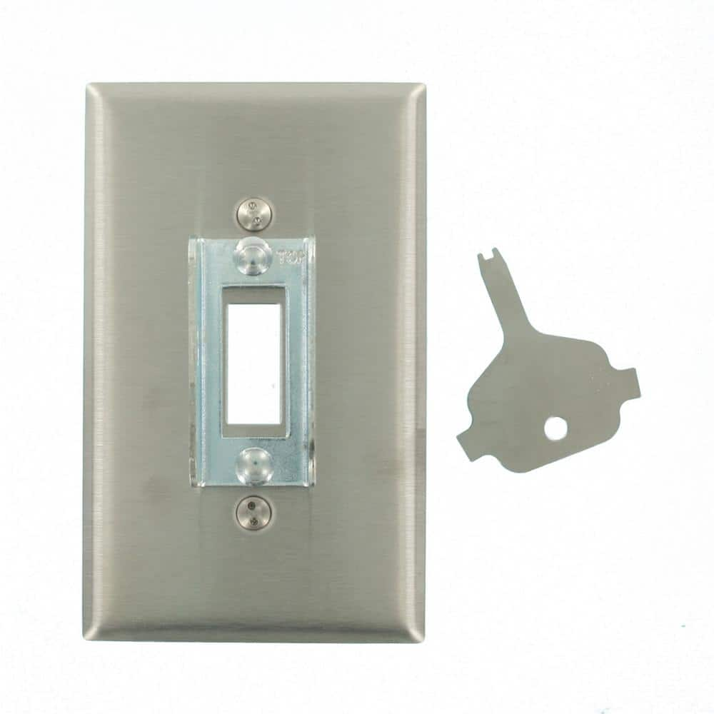 Leviton Stainless Steel 1 Gang Toggle Wall Plate 1 Pack 84001 Lok The Home Depot