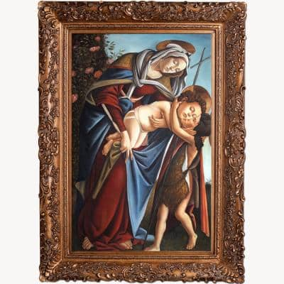 """""""Madonna and Child and the Young St John the Baptist"""" by Botticelli Framed Abstract Oil Painting 33.5 in. x 45.5 in."""