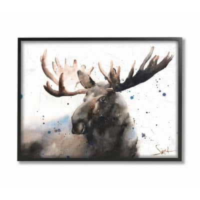 """11 in. x 14 in. """"Majestic Moose Watercolor Painting with Blue Splatter"""" by Eric Sweet Framed Wall Art"""