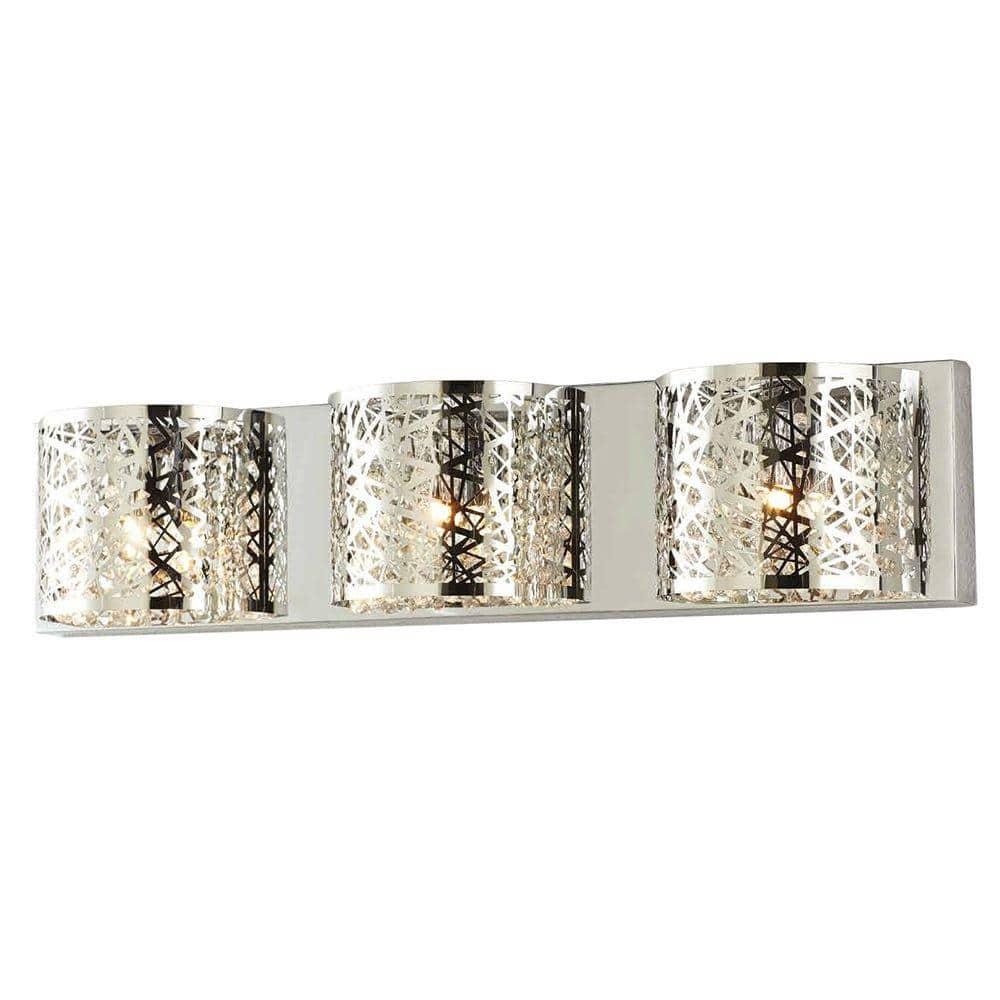 LED Bathroom Vanity Light Fixtures Chrome Wall Mounted WIHTU 3-Light Crystal Wa