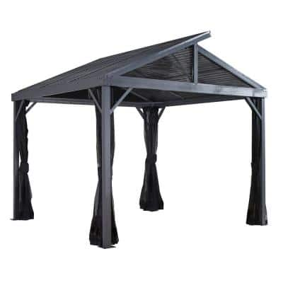 10 ft. D x 10 ft. W Sanibel II Aluminum Gazebo with Galvanized Steel Roof Panels, 2-Track System, and Mosquito Netting