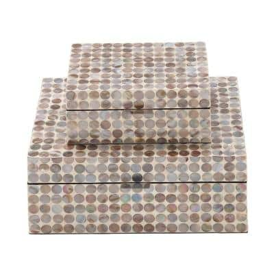 Beige MDF Multiple Decorative Boxes with Multi-Color Mother of Pearl Circular Tile Inlay (Set of 2)