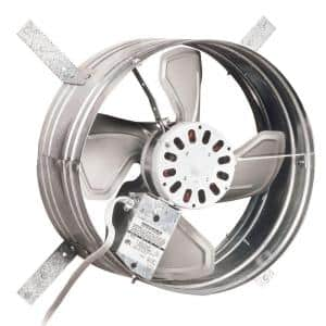 1600 CFM Silver Electric Powered Gable Mount Gable Louver Vent