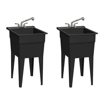 18 in. x 24 in. Recycled Polypropylene Black Laundry Sink w/2 Hdl Non Metallic Pullout Faucet and Install. Kit (Pk of 2)