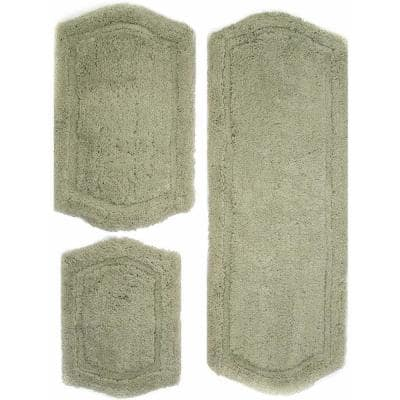 Memory Foam Sage 22 in. x 60 in., 21 in. x 34 in. and 17 in. x 24 in. 3-Piece Paradise Bath Rug Set