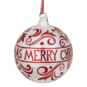 4.5 in. Red and White Merry Christmas Glass Ball Ornament with Red Ribbon